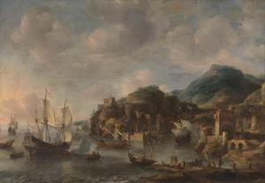 Een Hollandse koopvaarder en andere vaartuigen voor een vreemde haven