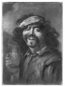 Zelfportret als grijnzende drinker met ooglapje