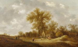 Reizigers op een landweg langs boerderijen