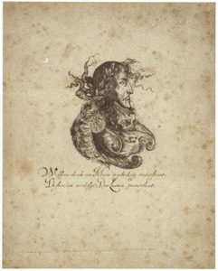 Portret van prins Willem III van Oranje-Nassau (1650-1702), gecombineerd met Mars