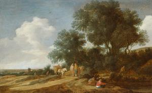 Duinlandschap met boeren en een kar op een landweg