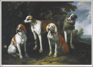 Honden bij in een bosrand