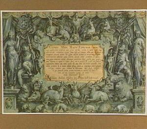 Titelblad met het Medici-wapen, allegorische figuren en dieren rond een cartouche