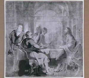De maaltijd te Emmaüs: de discipelen herkennen Christus wanneer hij het brood breekt (Lucas 24:30-31)