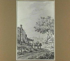 Landschap met paard en wagen bij een boerderij