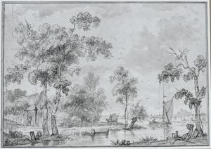 Behangselvlak met een hollands rivierlandschap