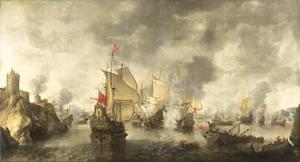 Slag van de verenigde Venetiaanse en Hollandse vloten tegen de Turken in de baai van Phocaea of Foja, 1649