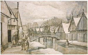 Het dorp Jisp in de winter