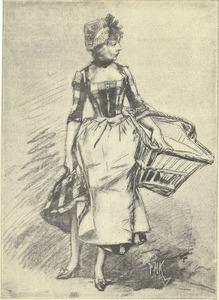 Vrouw met wasmand aan haar arm