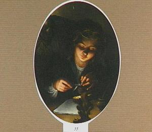 De personificatie van de poëzie in de gedaante van een gelauwerde jonge vrouw die haar pen snijdt
