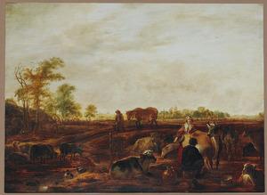 Weidelandschap met herders en hun dieren bij een sloot