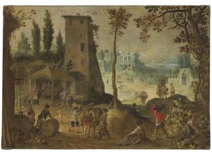 Dorpsgezicht met wijnmakende boeren; allegorie op de herfst