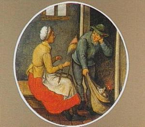 Interieur met een spinnende vrouw en een man met een kat in een zak ('De kat komt uit de zak')