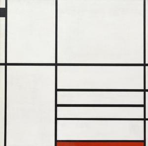 Composition en blanc, noir et rouge