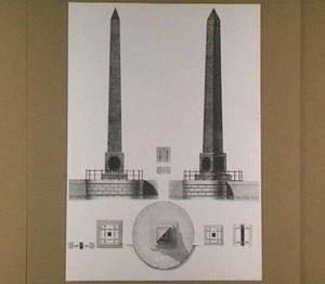 Ontwerptekening voor een geïllumineerde obelisk voor het Nationale Feest op 19 december 1799