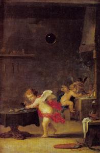Alchemisten werkplaats met cupido's