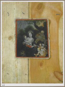 Trompe l'oeil stilleven van een stuk doek met een afbeelding van de rust op de vlucht naar Egypte, bevestigd op een houten paneel