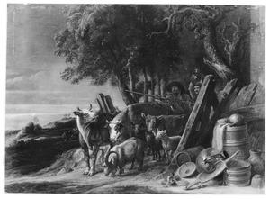 Herders drijven hun dieren door een hek