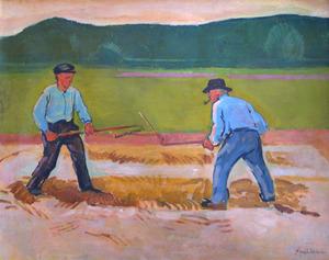 Twee dorsende landarbeiders