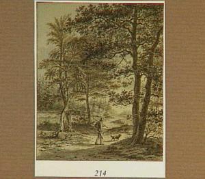 Boslandschap met houthakker en hond