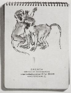 Schetsblad met studie van twee apen