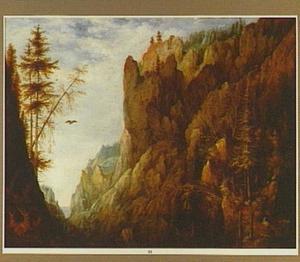Berglandschap met reizigers op een bergpad