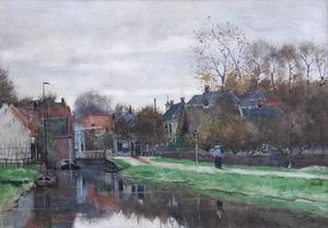 De Kerkvaart in Breukelen gezien naar de ophaalbrug in de Straatweg
