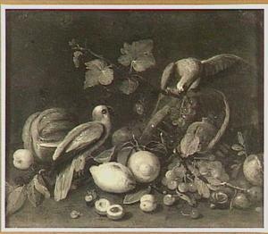 Vruchtenstilleven met twee papegaaien