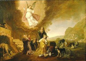 De engel Raphael vertrekt van Tobias en zijn familie