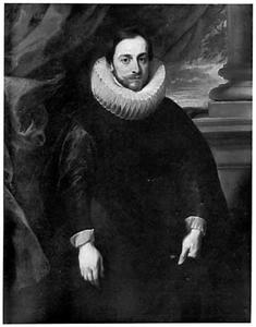 Portret van een man in een zwart kostuum
