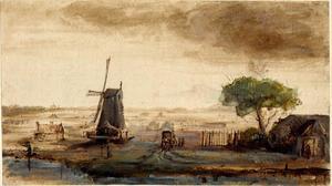 Panoramalandschap met windmolen