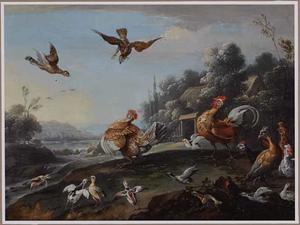 Landschap met pluimvee en andere vogels