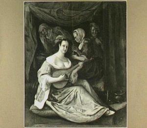 Citerspelende vrouw met een koppelaarster, een drinkende vrouw en een lachende man