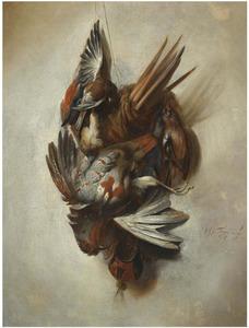 Trompe-l'oeil van opgehangen gevogelte en vangnet