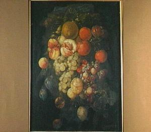 Vruchtenfestoen aan een blauw lint