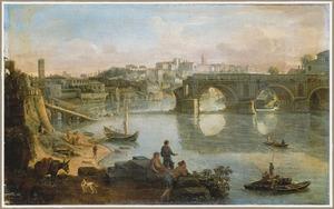 Gezicht op Rome over de Tiber met de Ponte Rotto