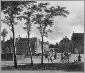 Gezicht op de Plaats in Den Haag met het Stadhouderlijk kwartier en de Gevangenpoort