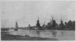 Gezicht op molens bij Dordrecht