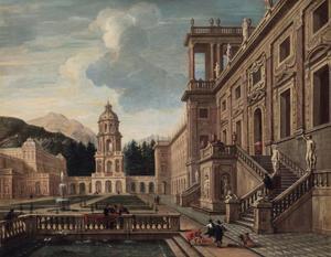 Fantasie-paleis met elegante figuren in een tuin