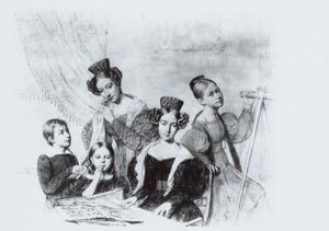 Groepsportret van Hendrik Eduard Huyssen van Kattendijke (1821-1858), Henrietta Wilhelmina Swellengrebel (1824-1905), Frederique Louise Wilhelmina Huyssen van Kattendijke (1814-1866), Louise Catharina Wilhelmina Huyssen van Kattendijke (1812-1843) en Charlotte Henrietta Huyssen van Kattendijke (1817-1837)