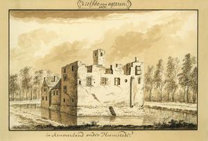 Rechter- en achterzijde van het oude huis Berkenrode bij Heemstede, met de ruïne van het achterdeel