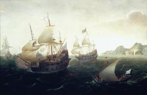 Engelse schepen voor een rotsachtige kust