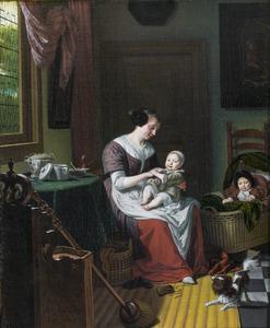 Portret van een vrouw, waarschijnlijk Eva Visscher (1651-1684) met twee van haar kinderen, in de achtergrond een zelfportret van Michiel van Musscher (1645-1705)