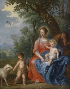 De Heilige Familie met Johannes de Doper in een landschap