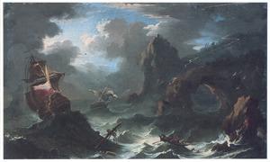 Schepen in nood bij zwaar weer voor een rotsachtige kust