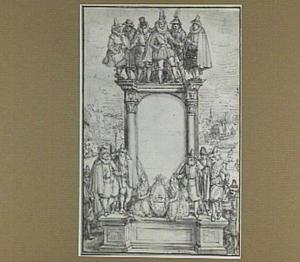 Historische figuren rond een cartouche met architecurale omlijsting, in de achtergrond een haven