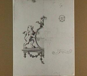 Wapenbord met heraldische leeuw