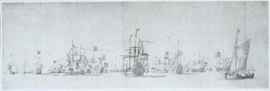 De Hollandse vloot met het vlaggeschip Eendracht bij de kust van Schooneveld, onder commando van admiraal Jacob baron van Wassenaar van Obdam en vice-admiraal Evertsen Schoedijk, in de herfst van 1664