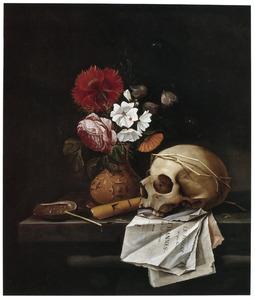 Vanitasstilleven met een boeket en een schedel