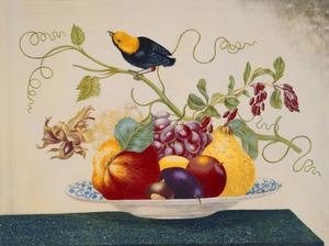 Vruchten op een porseleinen bord, op een marmeren blad